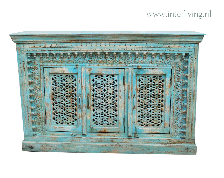 indiaas dressoir aqua lichtblauw