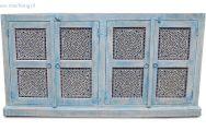 Indiaas vierdeurs dressoir in blue wash uitvoering
