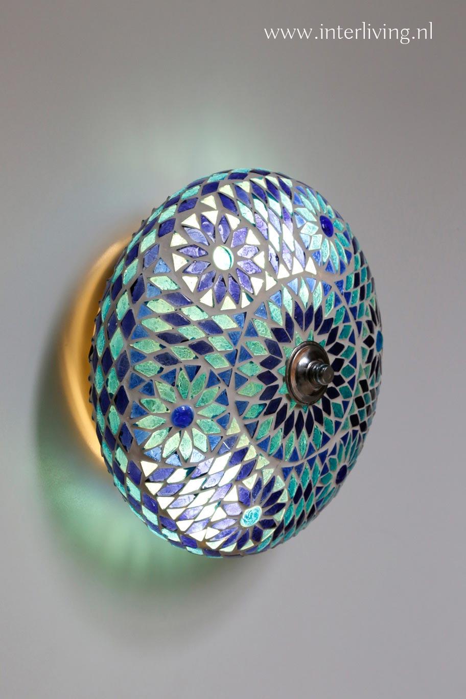 turkse plafonniere - blauw mozaiek