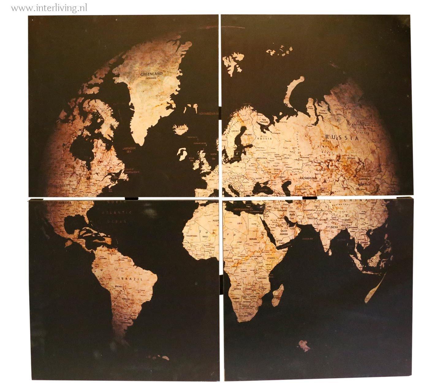 Verwonderend wanddecoratie: nostalgische vintage wereldkaart poster op hout panelen OP-64