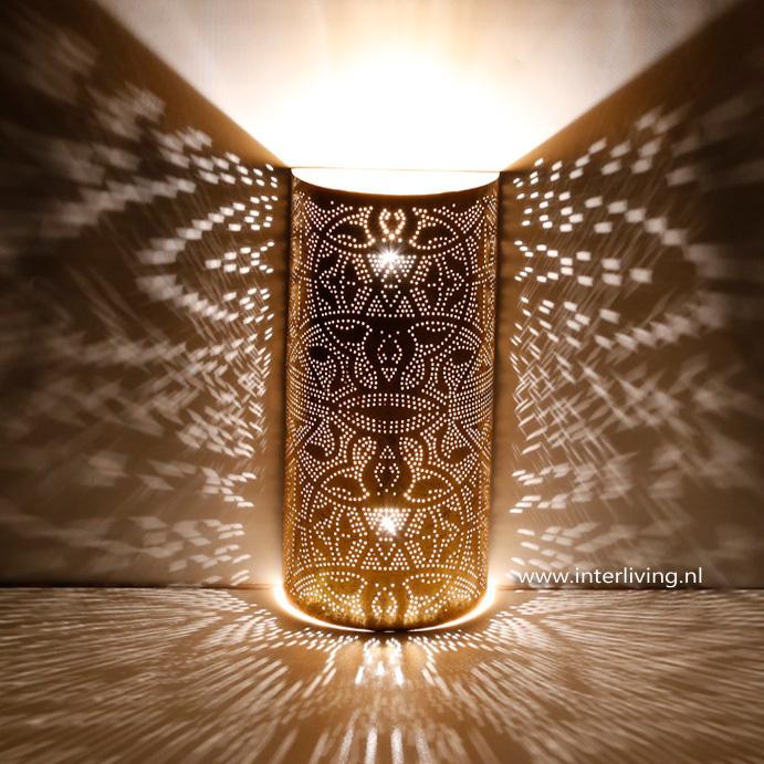 Oosterse wandlamp -filigrain - verweerd goud metaal