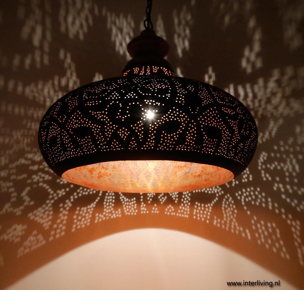 filigrain lamp - zwart met koper
