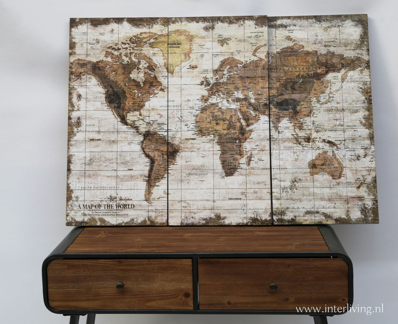 wereldkaart op 3 panelen