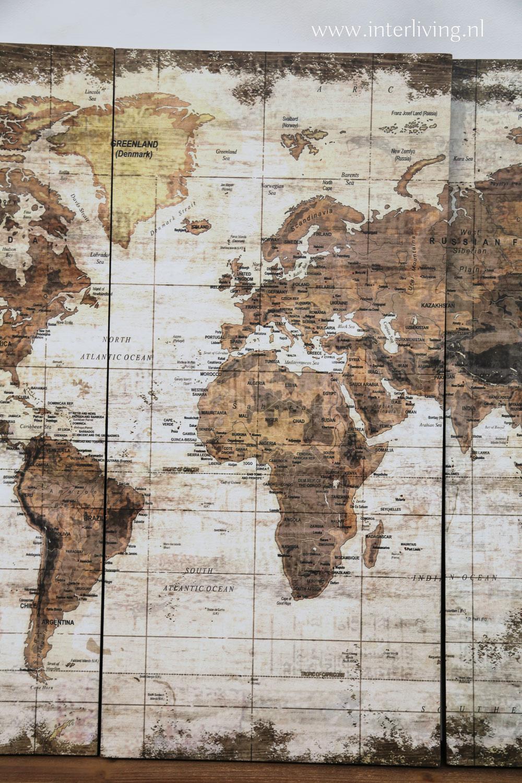 vintage wereldkaart bruin