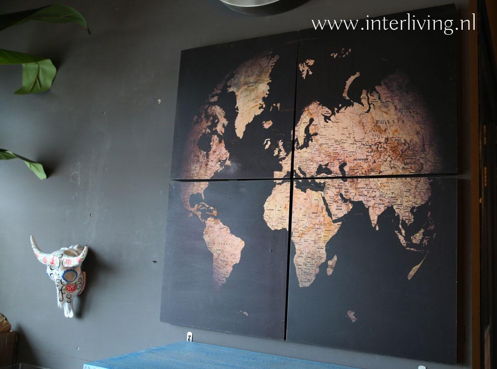 zwarte wereldkaart - vintage