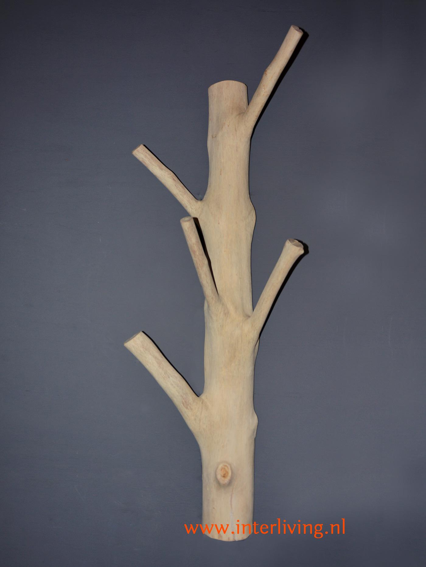 kapstok op grijze muur - kale boomstam met vijf knoestige takken als kapstokhaken - opgeruimde hal of gang styling