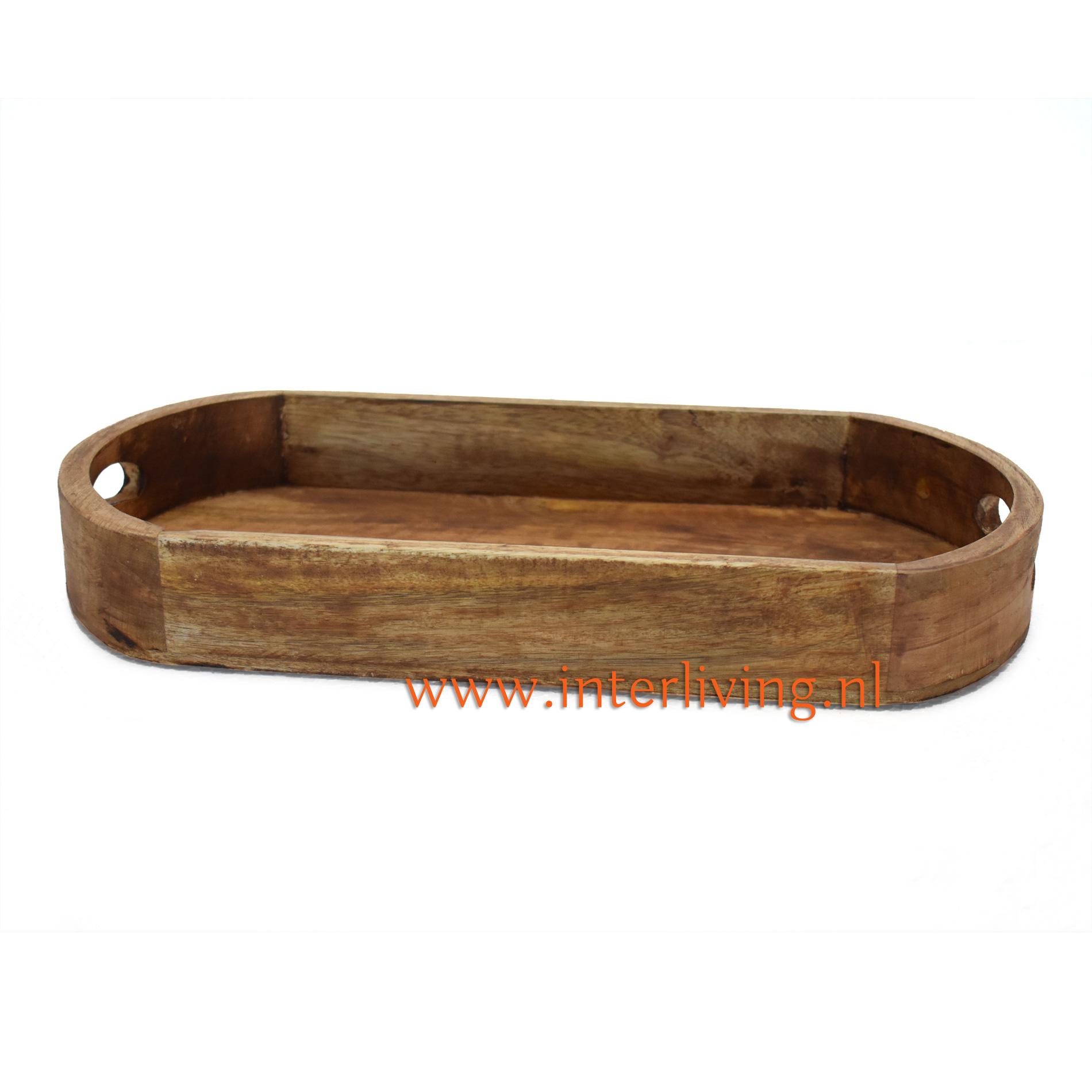 mangohouten dienblad van donker gekleurd hout - landelijk stoer en sober wonen