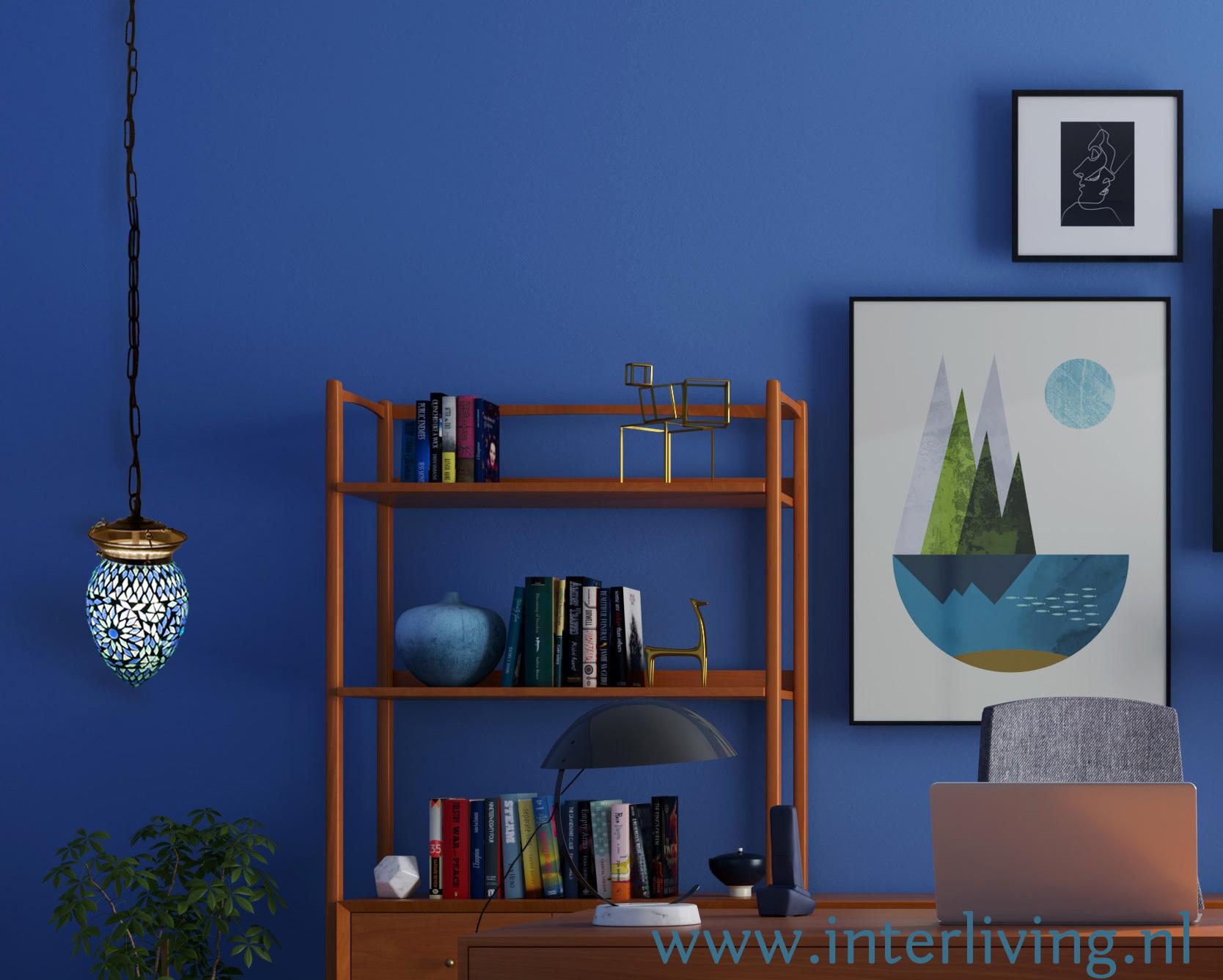 blauwe hanglamp