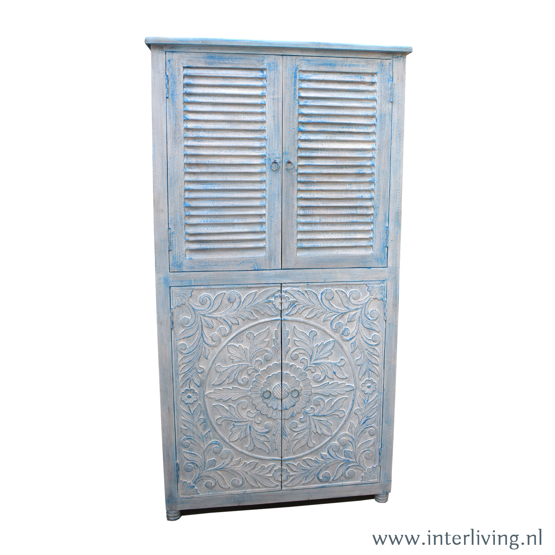 buffetkast - vier-deurs - met aparte bovenkant van Louvre lamellen en onder houtsnijwerk van lotus bloemen - handgemaakt - vintage blue washed verf