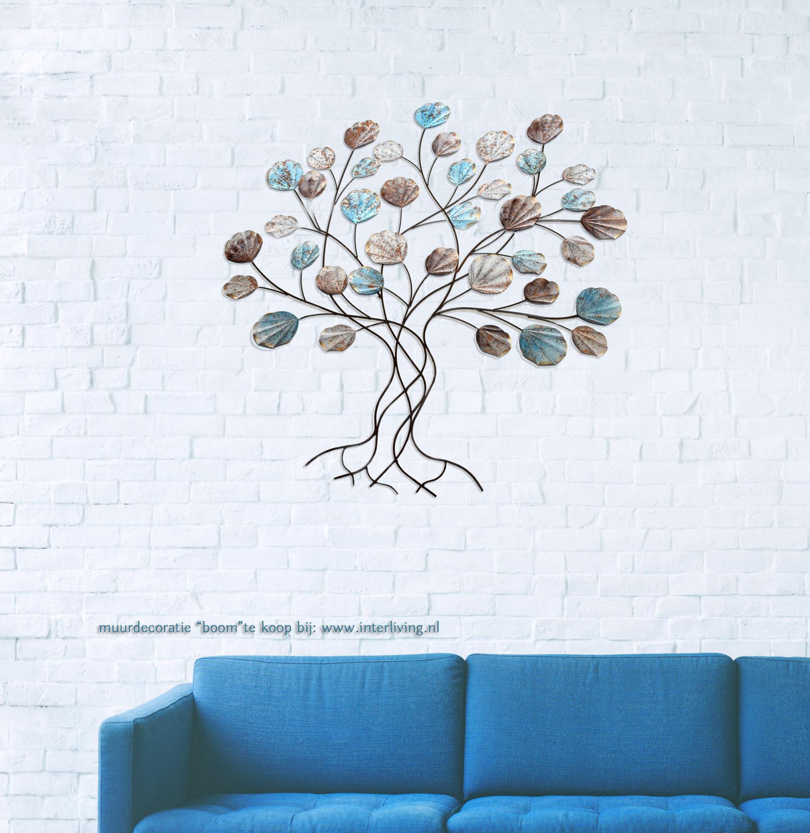 Wanddecoratie Buiten Metaal.3d Metalen Wandpaneel Van School Vissen En Boom Grijs Metaal