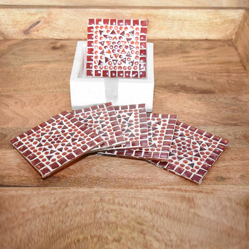 onderzetters rood oranje wit - boho stijl woonaccessoires - styling idee