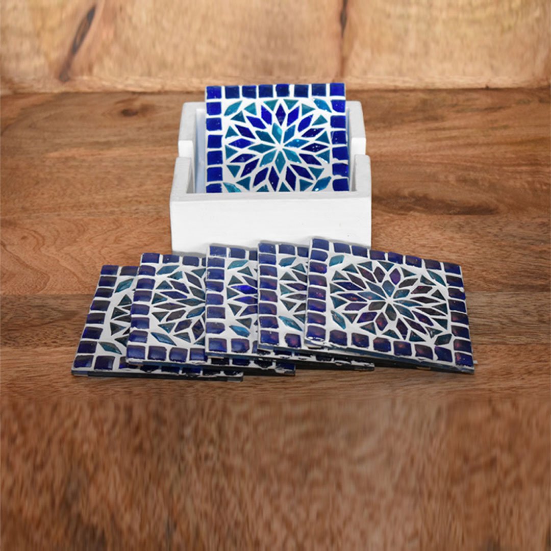 onderzetters blauw wit - Ibiza stijl woonaccessoires - styling idee