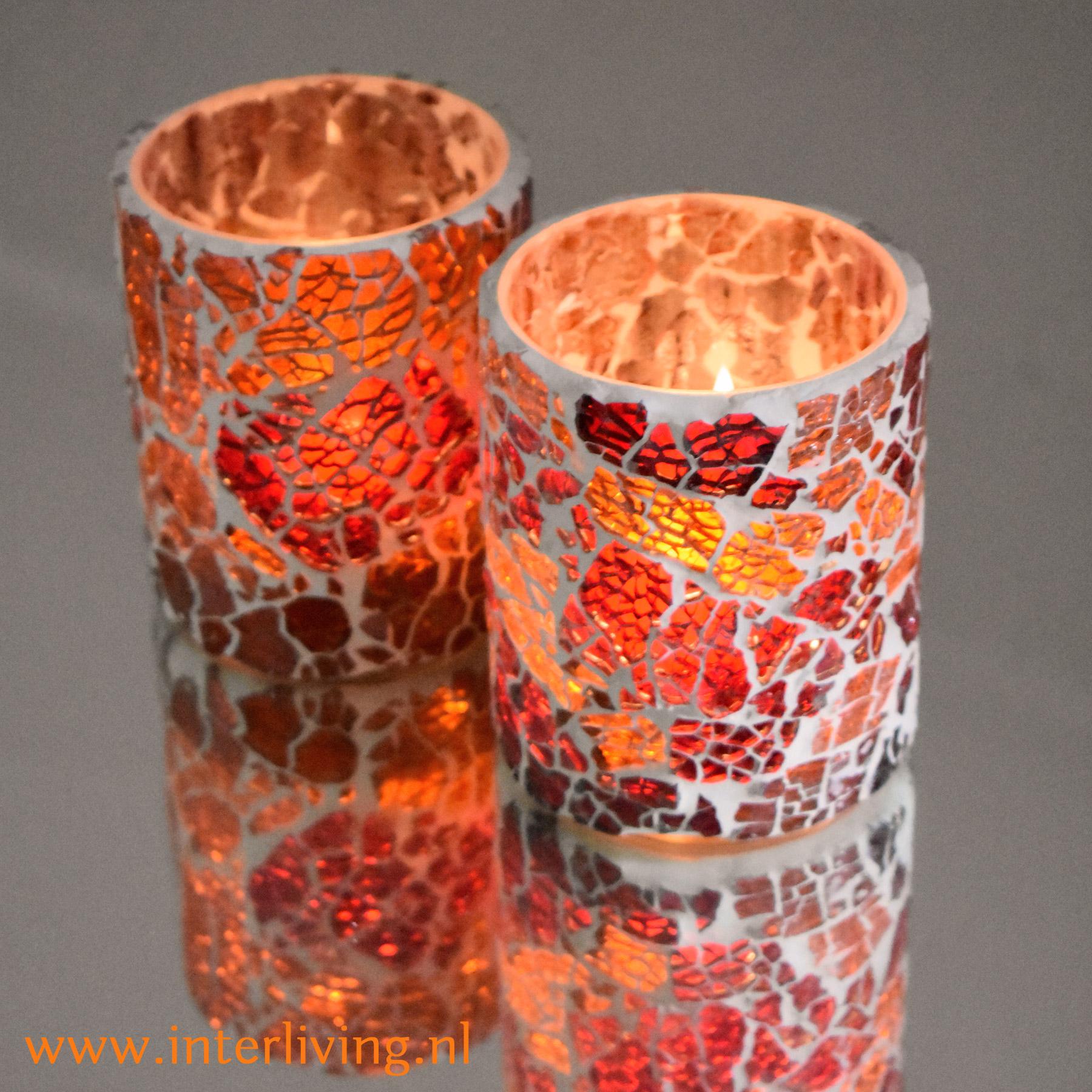 theelichthoudertjes - groot formaat voor sfeervolle tafelstyling - handgemaakt van glasmozaïek