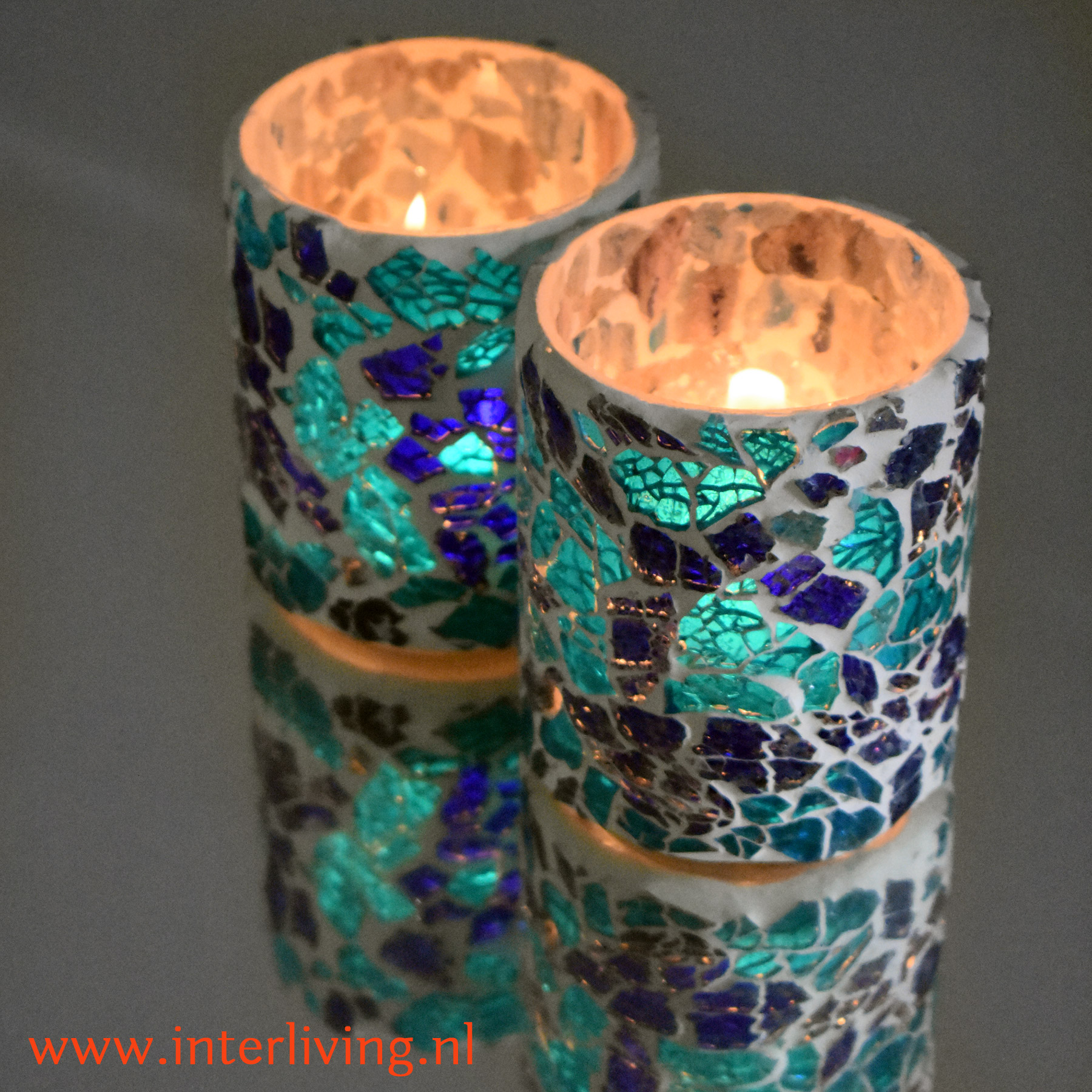 Ibiza interieur stijl woonaccessoires - sfeerlichtjes voor je interieur -handgemaakt glasmozaïek