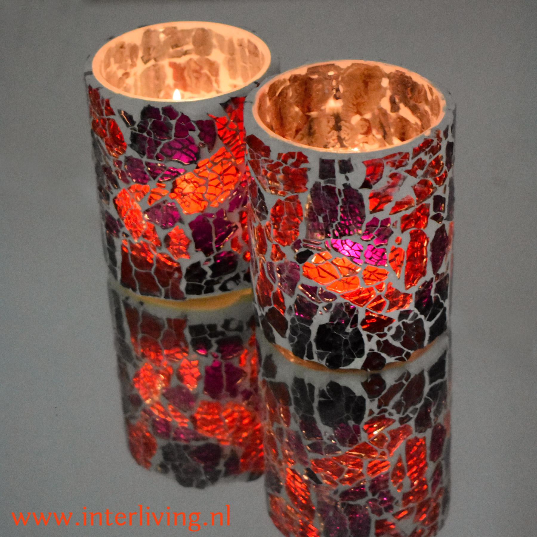 waxinehouders rond - groot cilinder formaat - hippy chic stijl glasmozaïek