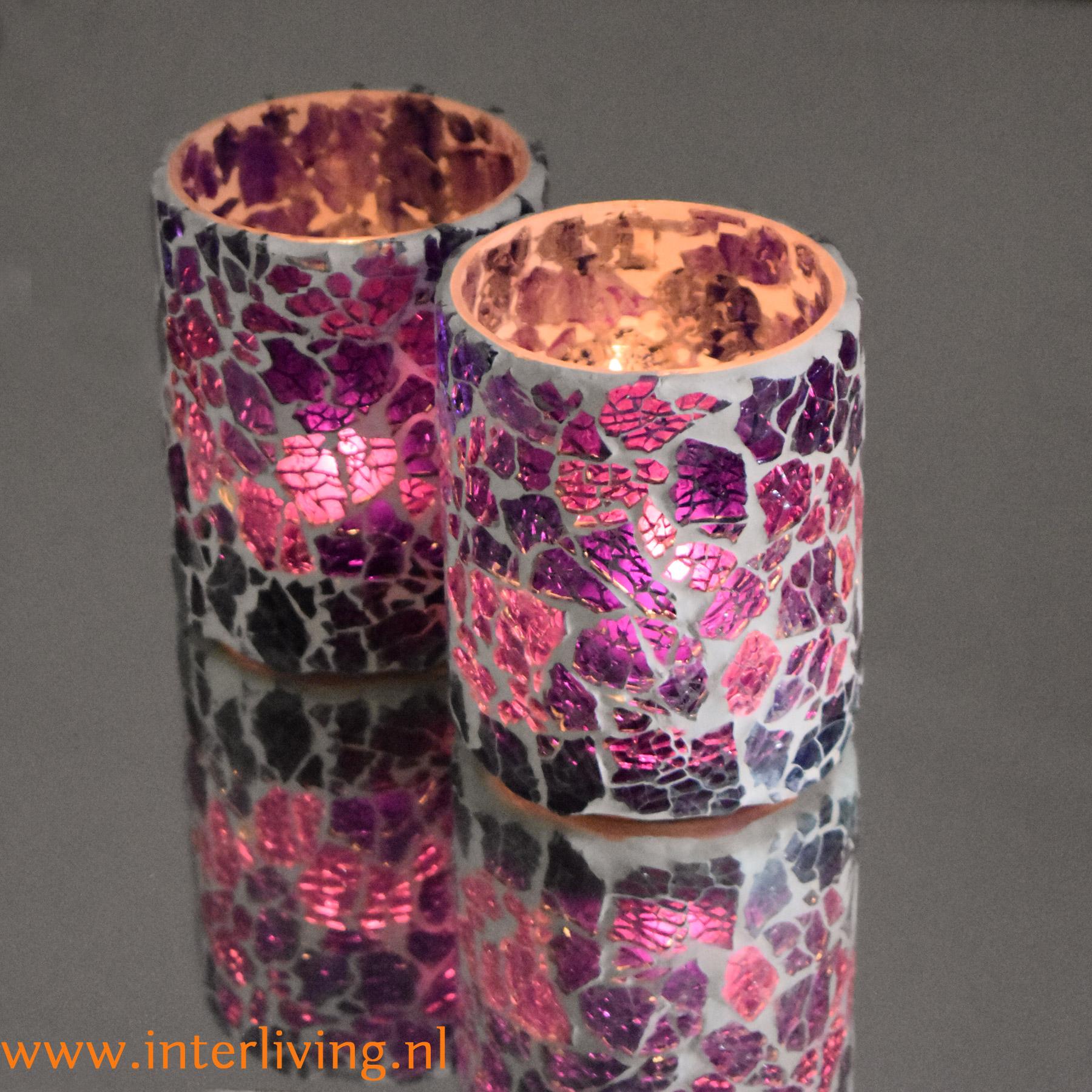 sfeerlichtjes een feestelijk kado - cadeau tip voor Moederdag of verjaardag - crackled stijl glasmozaïek
