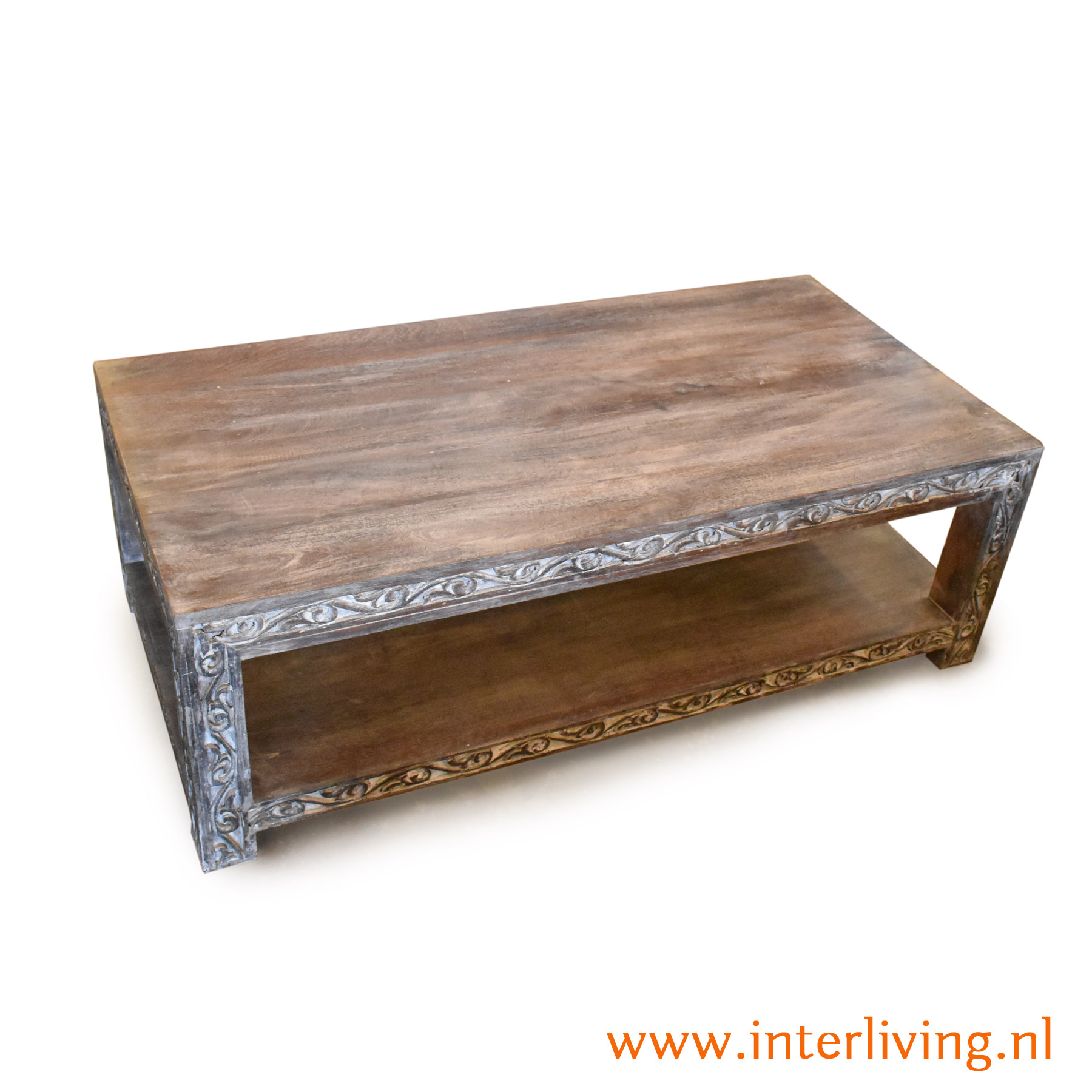 Handgemaakte salontafel voor landelijk of sober en chic wonen - van massief mangohout met lotus houtsnijwerk