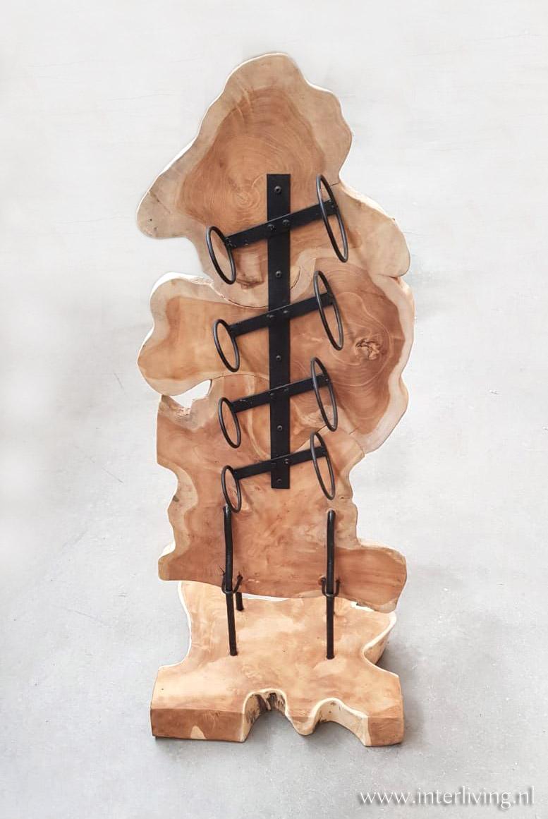 houten wijnrek klein model - woondecoratie - kunst object handgemaakt van wortelhout - massief teakhout