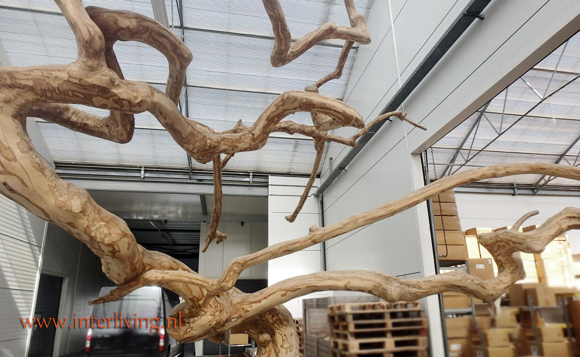 kale boomkapstok met takken - woondecoratie - blank hout - landelijke woonstijl