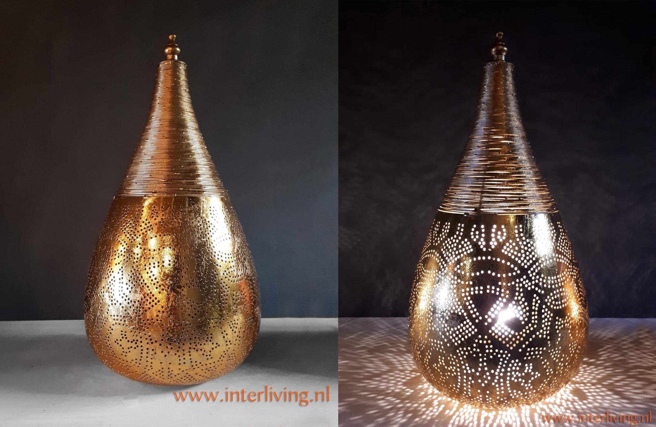 goud metalen lamp met gaatjes - interieur decoratie - boho Ibiza stijl