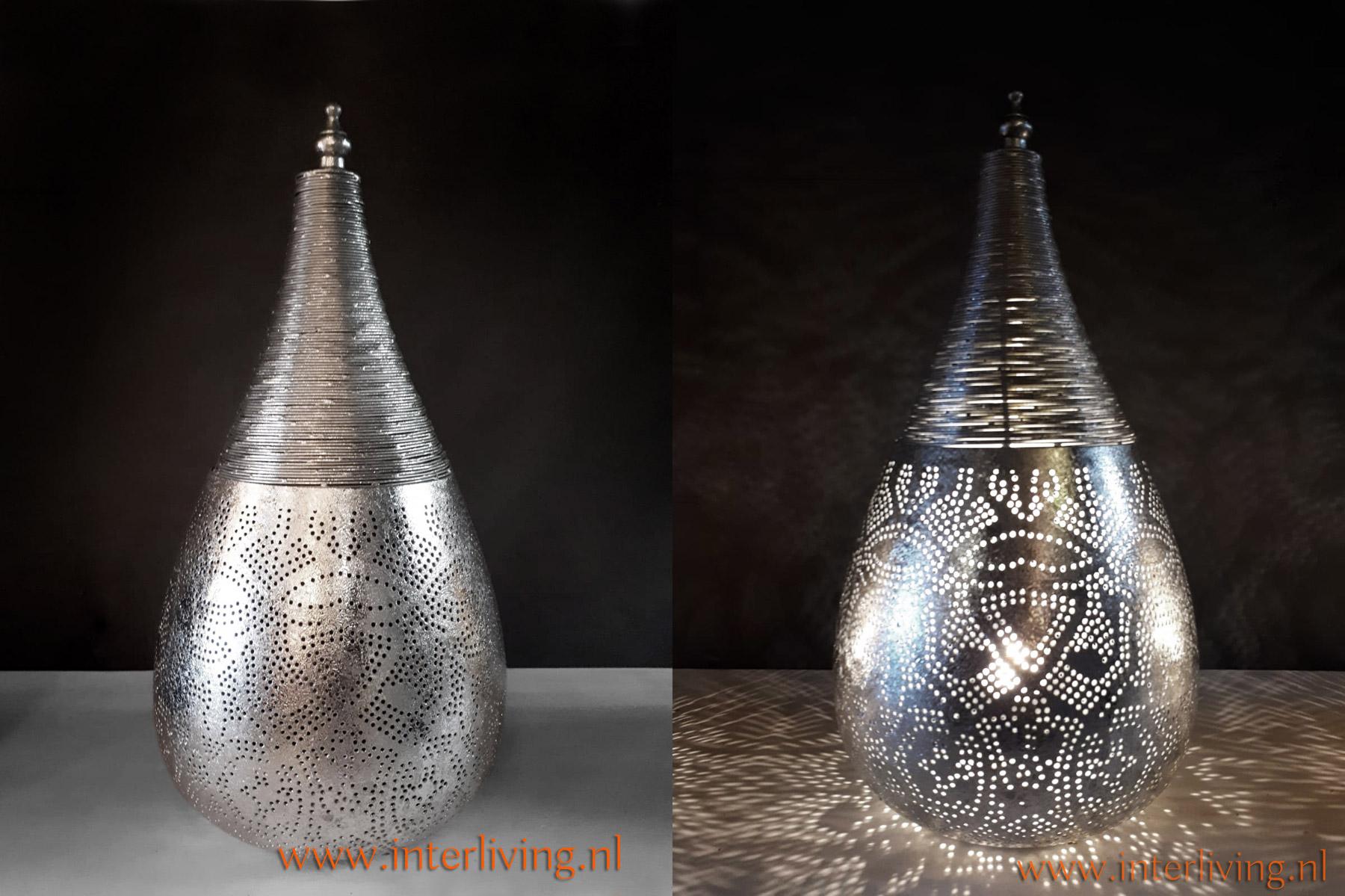 puntig zilveren lampje oosters - Marokkaanse lamp zilver tafelmodel - Arabische tafellamp zilver kleur