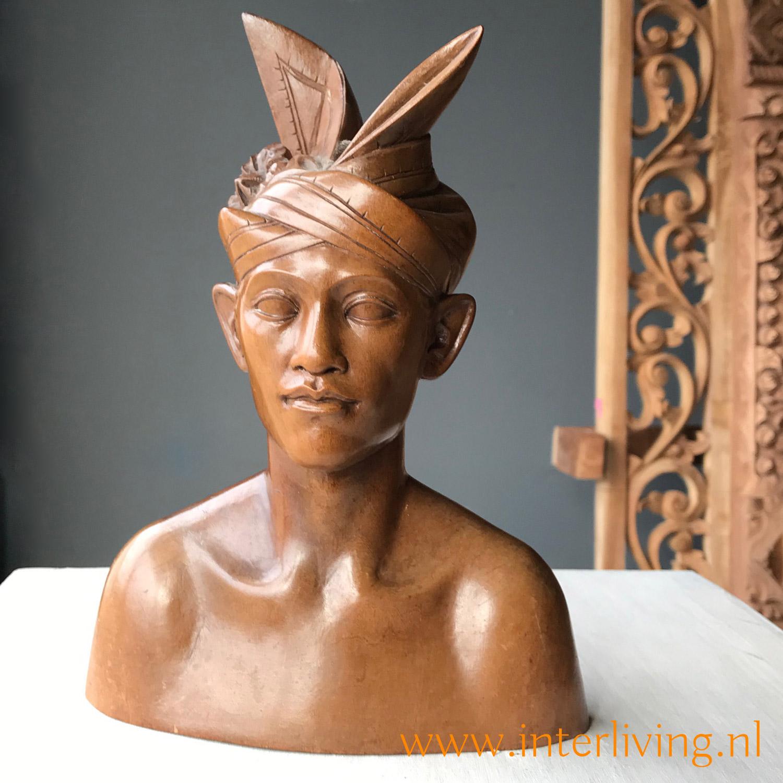 boho cadeau - uniek woonaccessoire - houten beeld