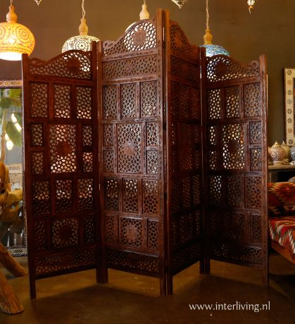 houten roomdivider kamerscherm india