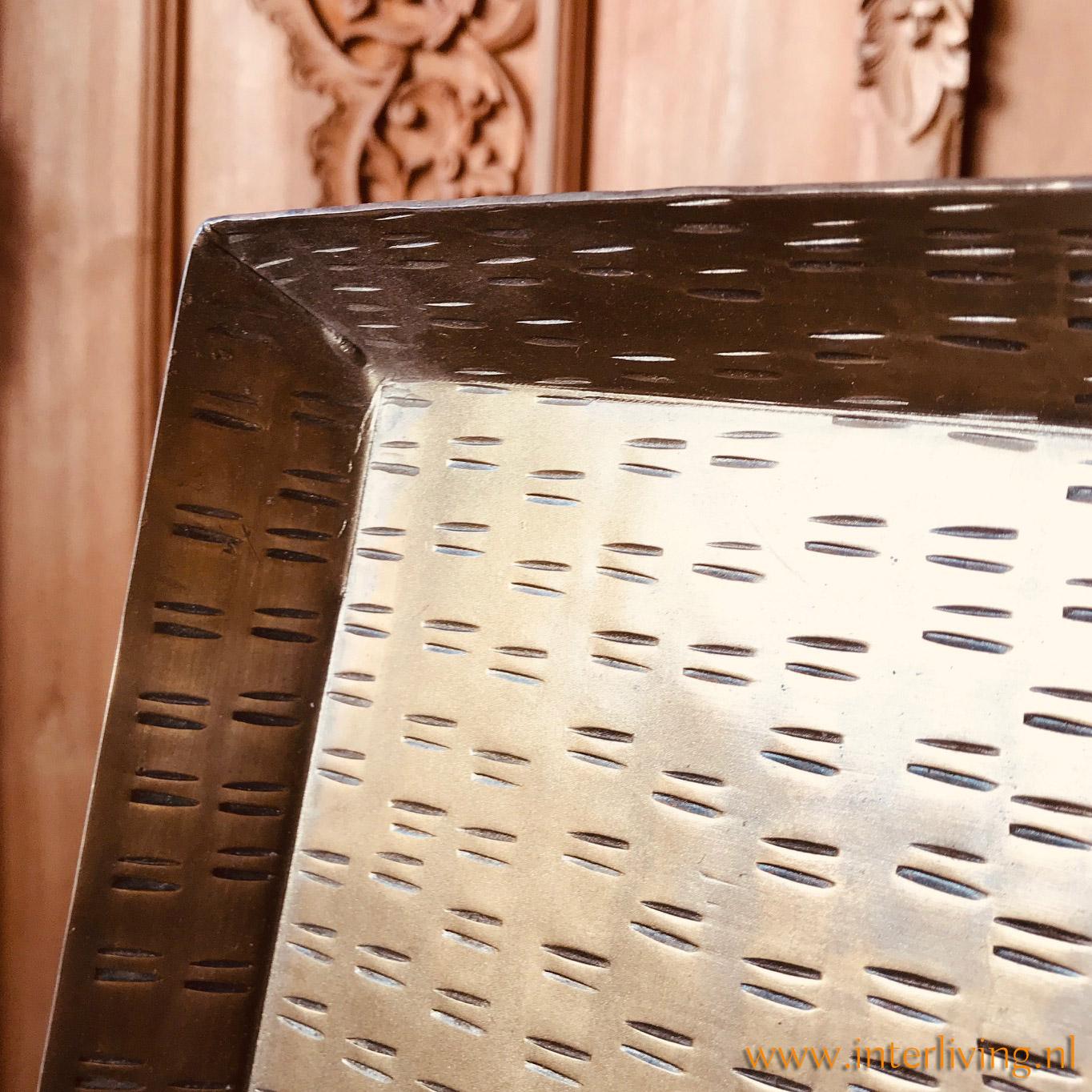 strak dienblad - vierkant Xl model - goud kleur metaal