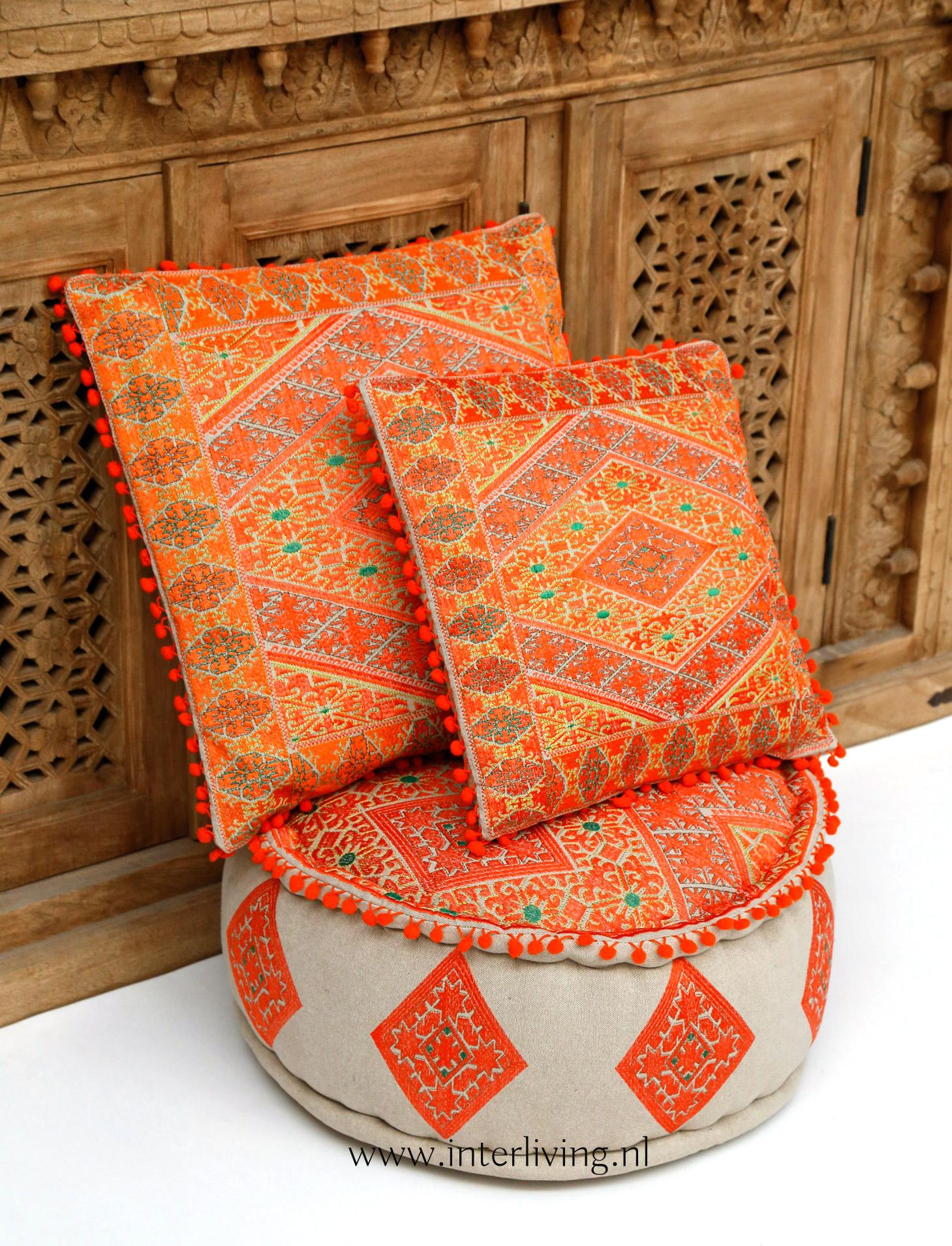 oranje kussens - marokkaans