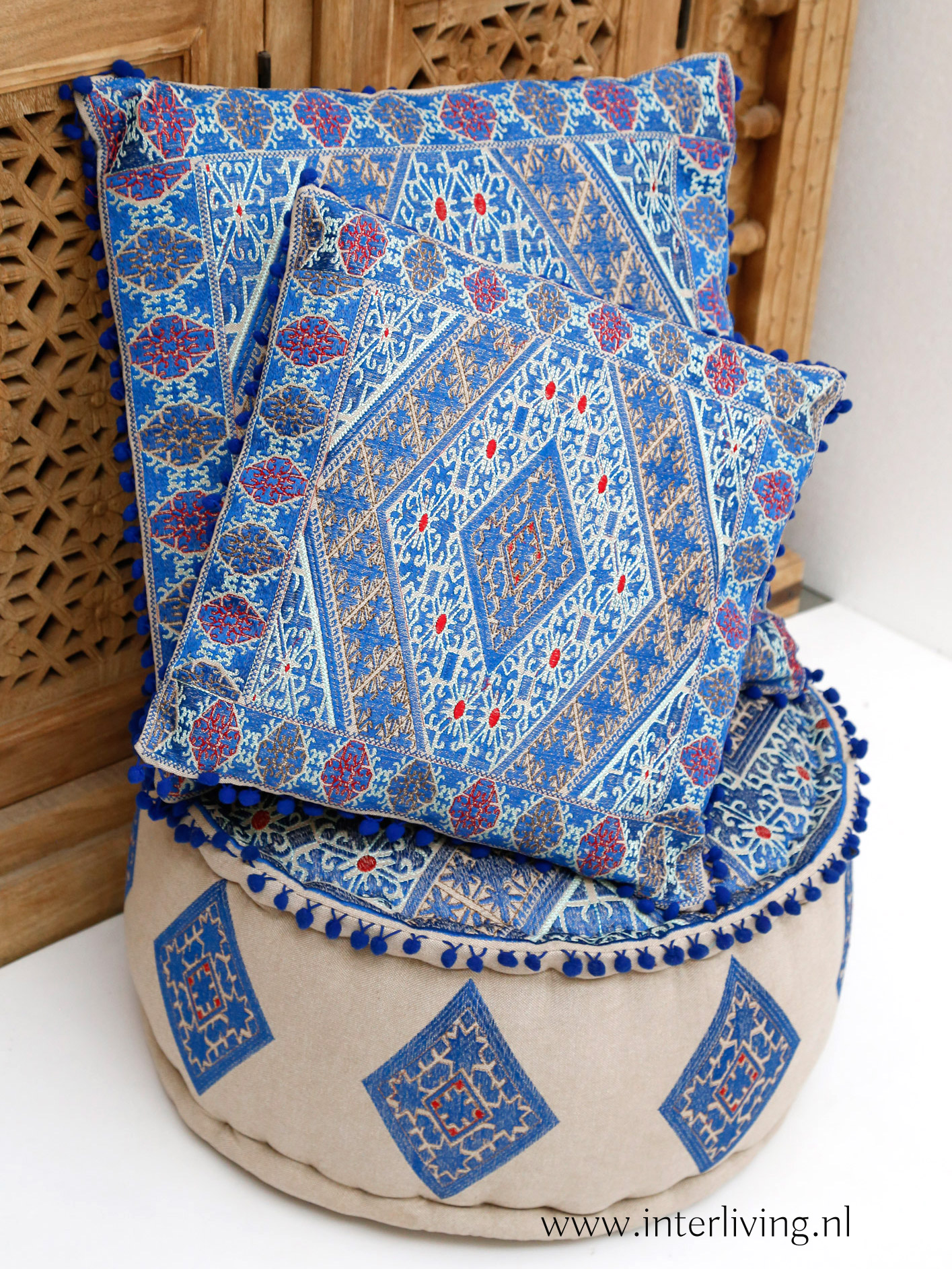 blauwe kussens marokkaans