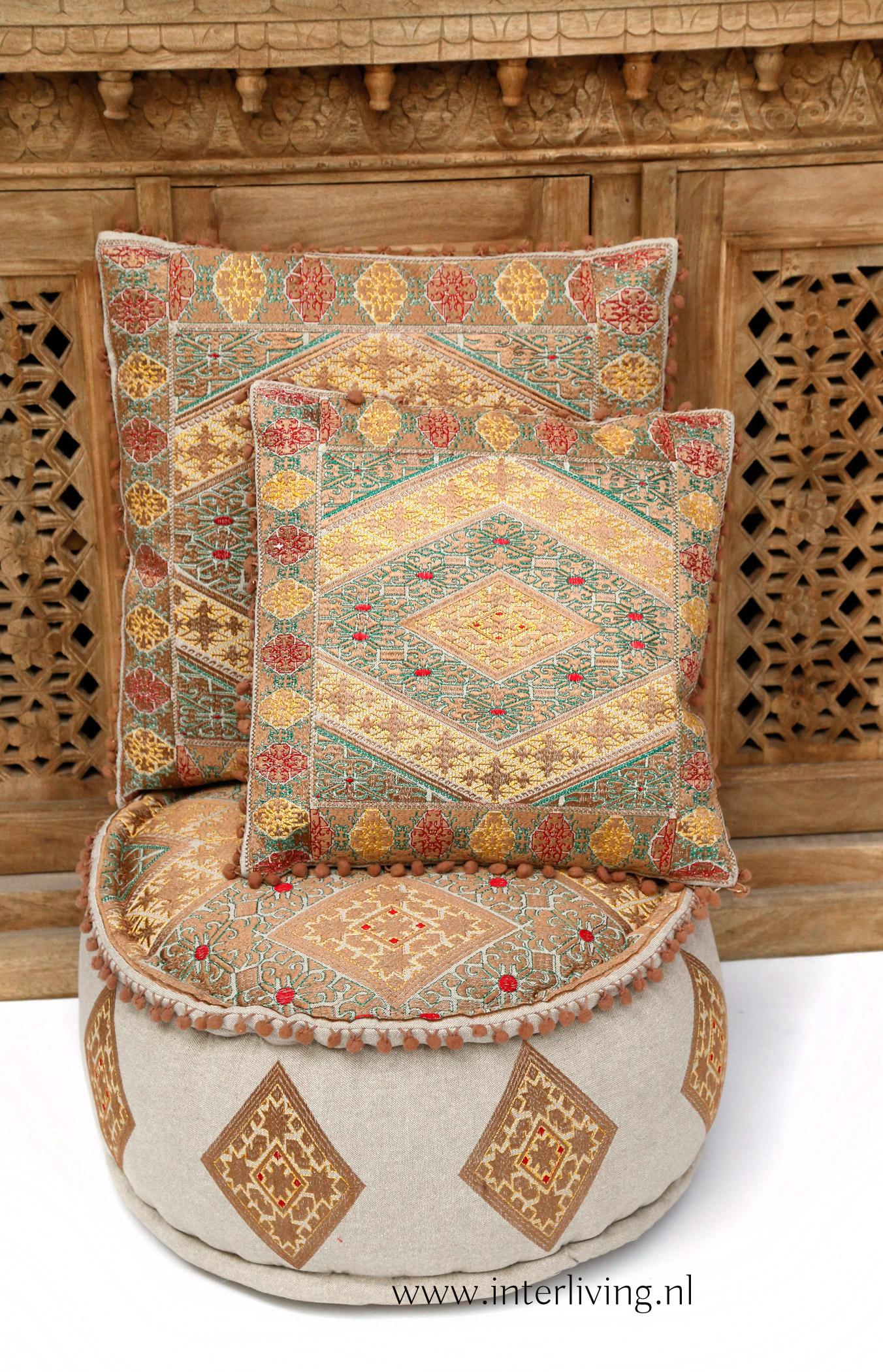 bruin gouden kussens marokkaans