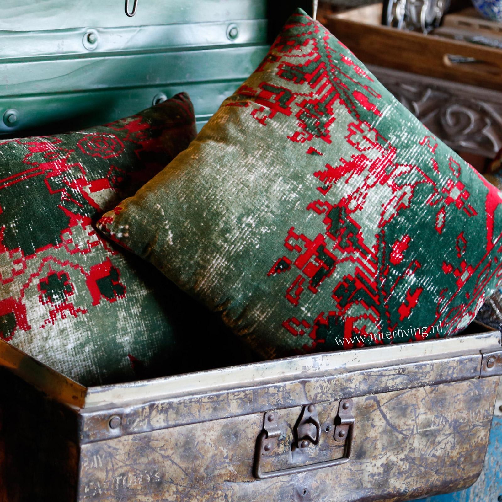 kilim verweerd tapijt kussen - vintage botanisch oude stijl sierkussen velvet groen
