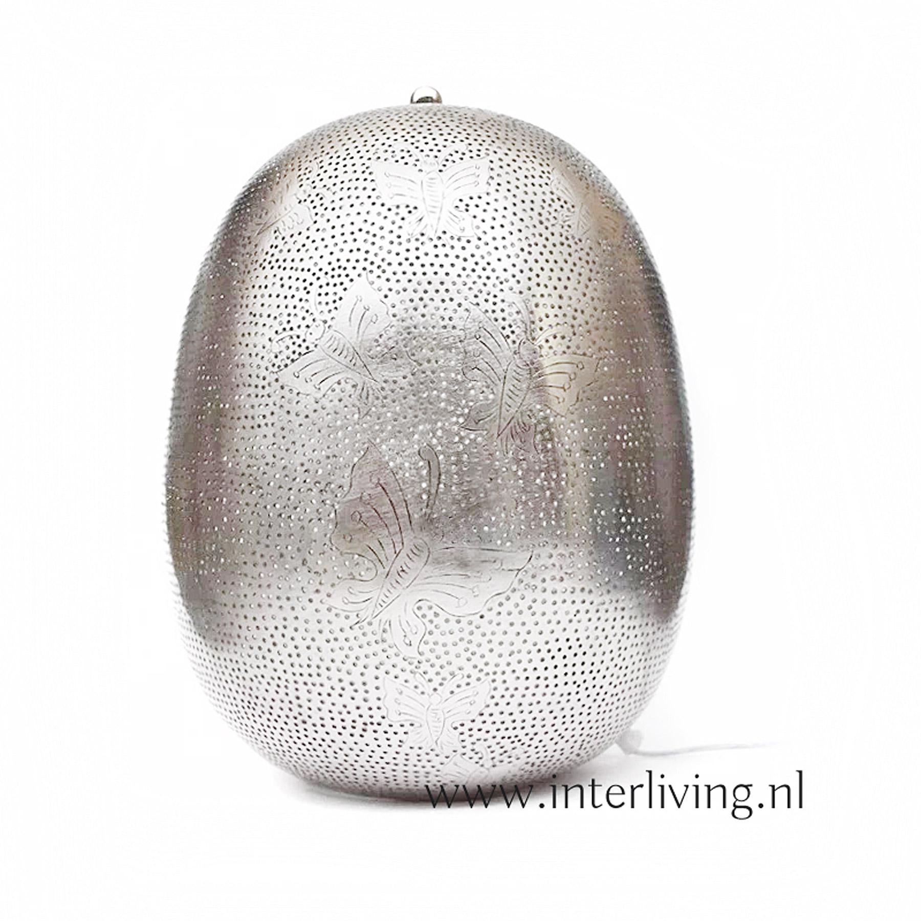 zilverkleurige tafellamp ovaal  - sprookjeslamp met vlinderpatronen