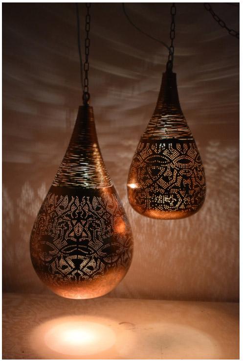 Luxe glamour hanglamp authentieke koper kleur met oosterse gaatjespatronen - 1001nacht oosterse filigrain druppel lamp