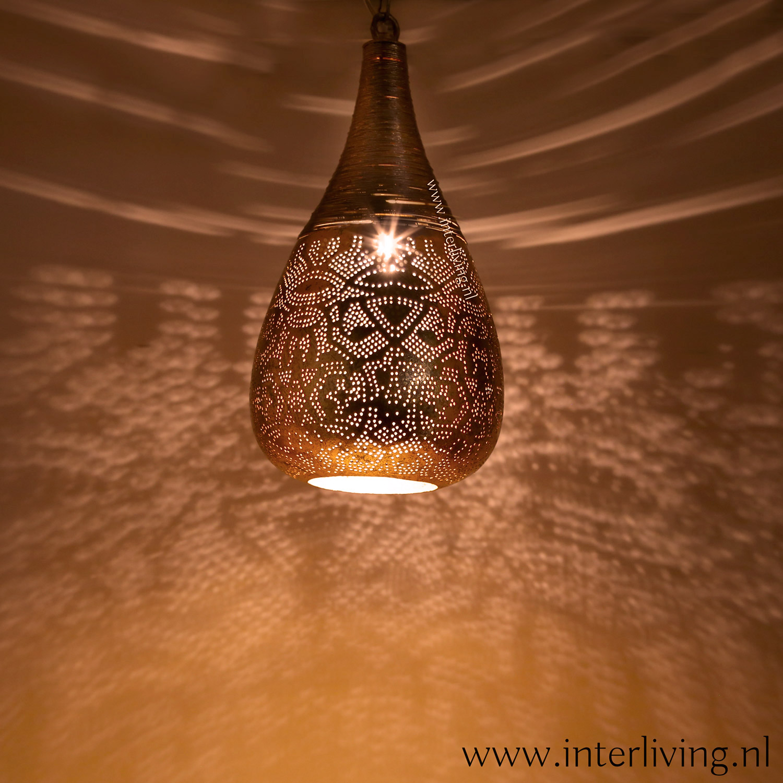 Warme sfeerverlichting hanglamp goud - moderne oosterse stijl lamp