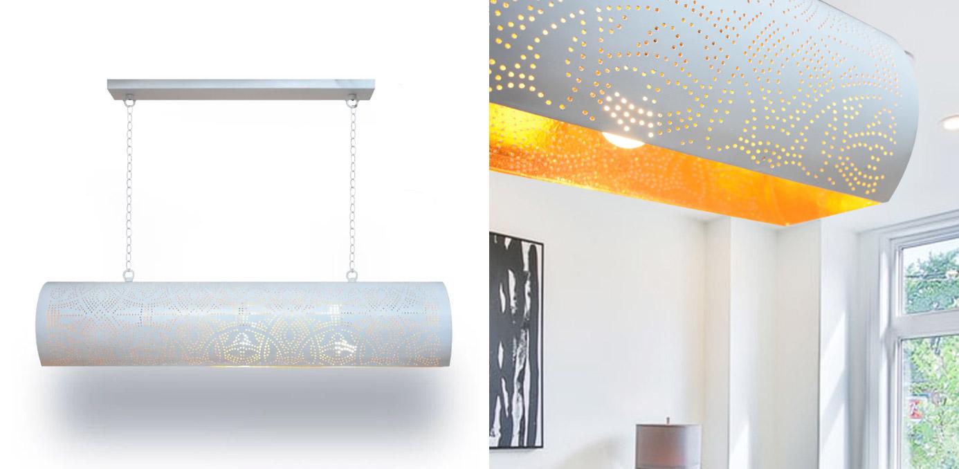 wit hanglamp voor de eettafel - buis lamp van metaal opengewerkt met oosterse gaatjespatronen