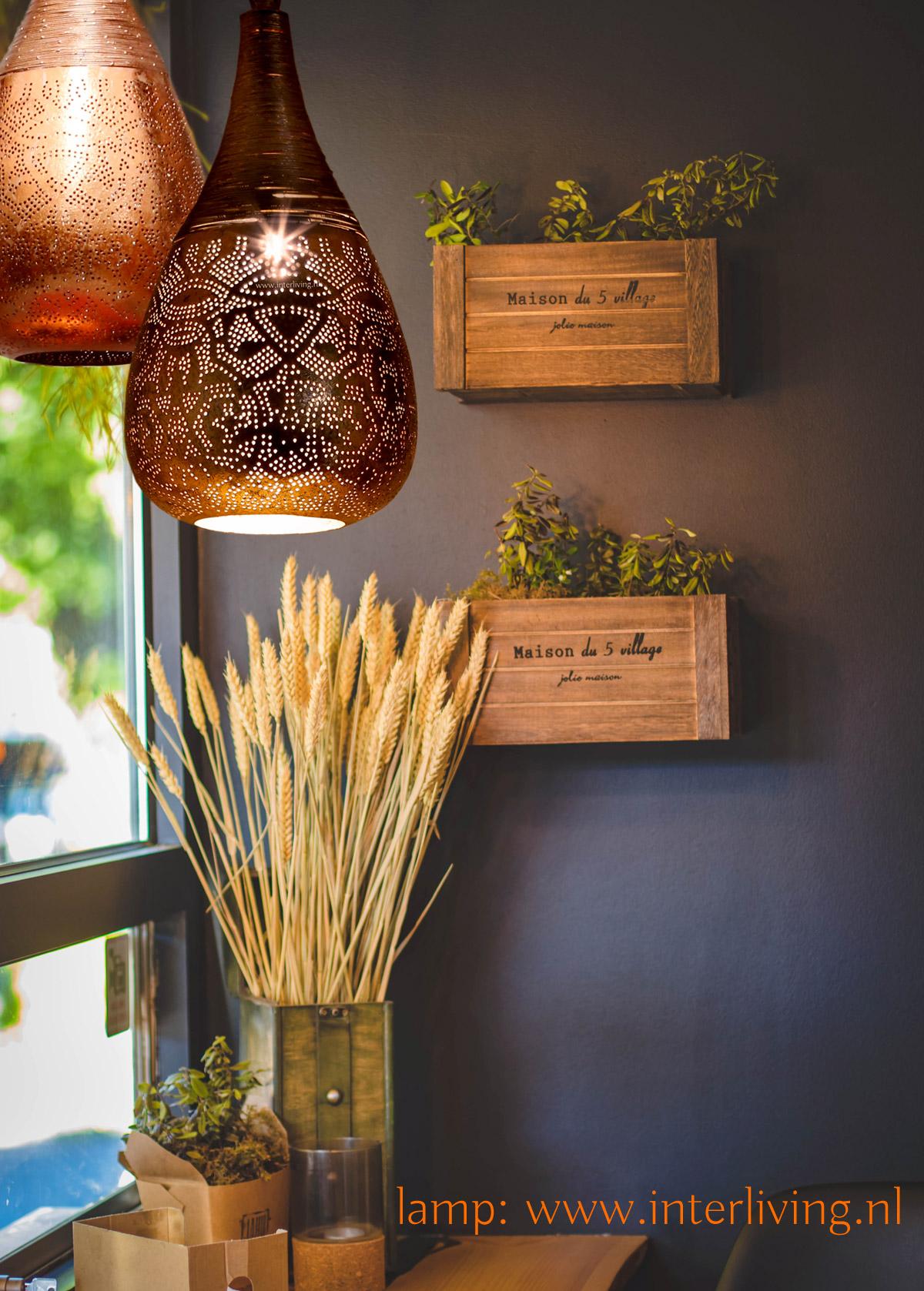 Stijlvol sober wonen - landelijke sfeerverlichting hanglamp koper metaal - moderne oosterse stijl lamp