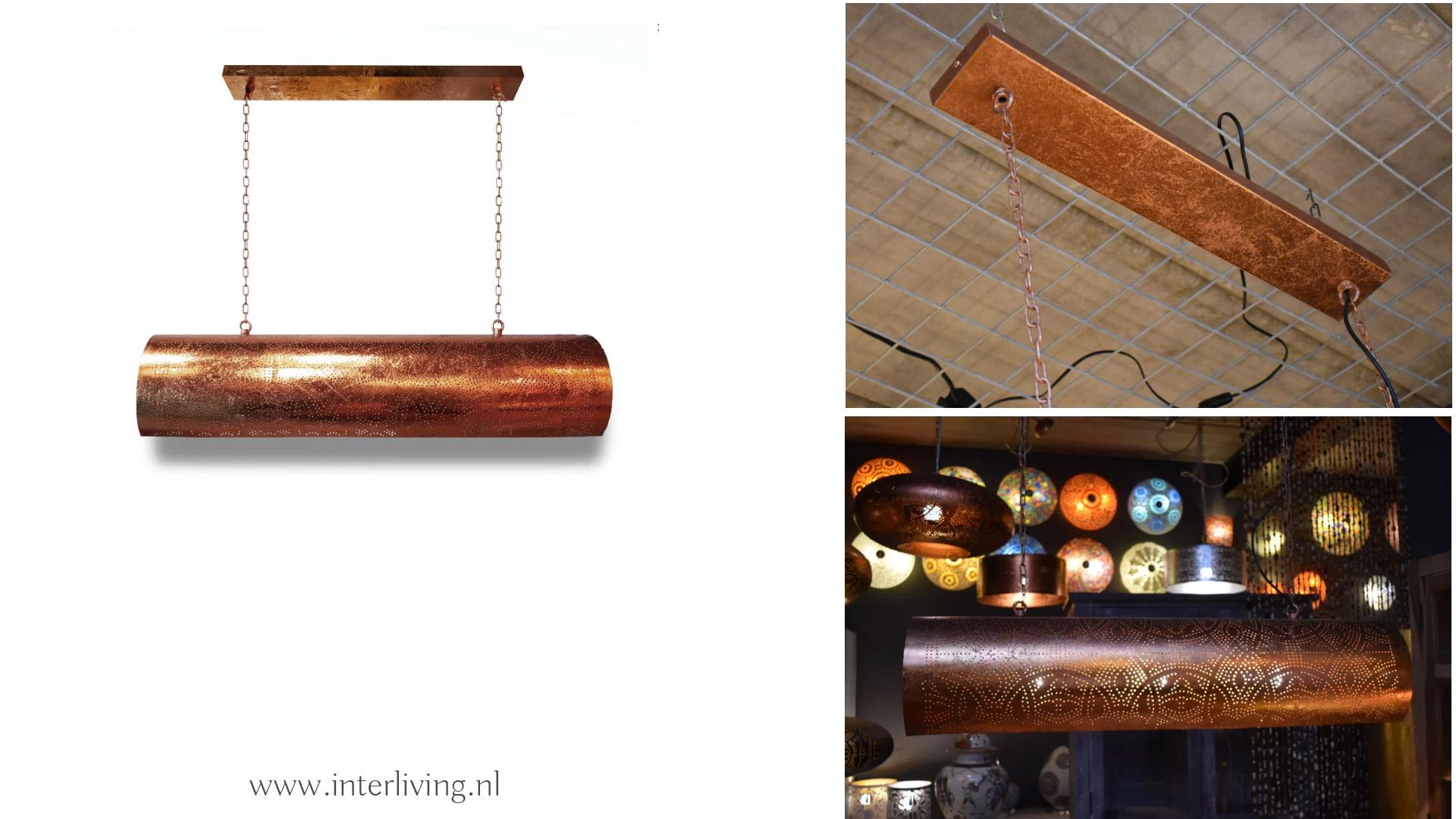 buis hanglamp van metaal voor de eettafel - loftbar lamp van koper kleurig vintage metaal