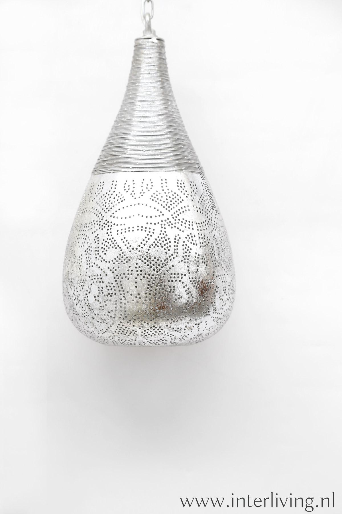 zilverkleurige lamp druppel vorm  - Marokkaanse stijl met gaatjespatronen