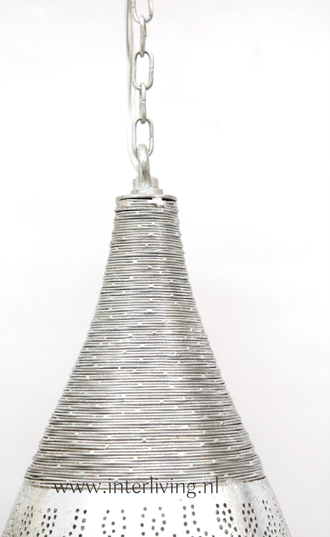 antiek zilver kleurig metalen hanglamp  - oosterse filigrain lamp met oriëntaalse gaatjespatronen