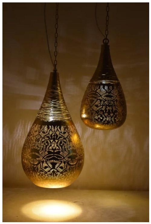 Luxe glamour hanglamp goud kleur met oosterse gaatjespatronen - 1001nacht oosterse filigrain lamp