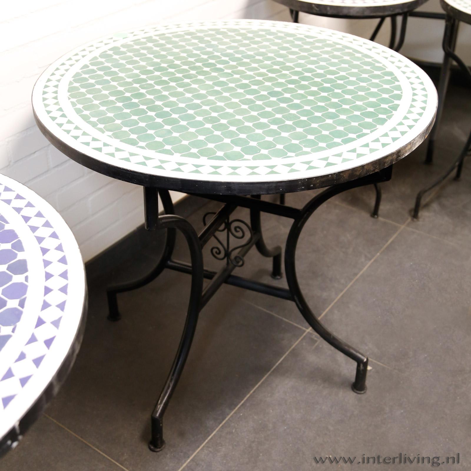 bistro tafel rond - Marokkaanse mozaiek tafel voor tuin / terras / balkon / inspiratie / styling