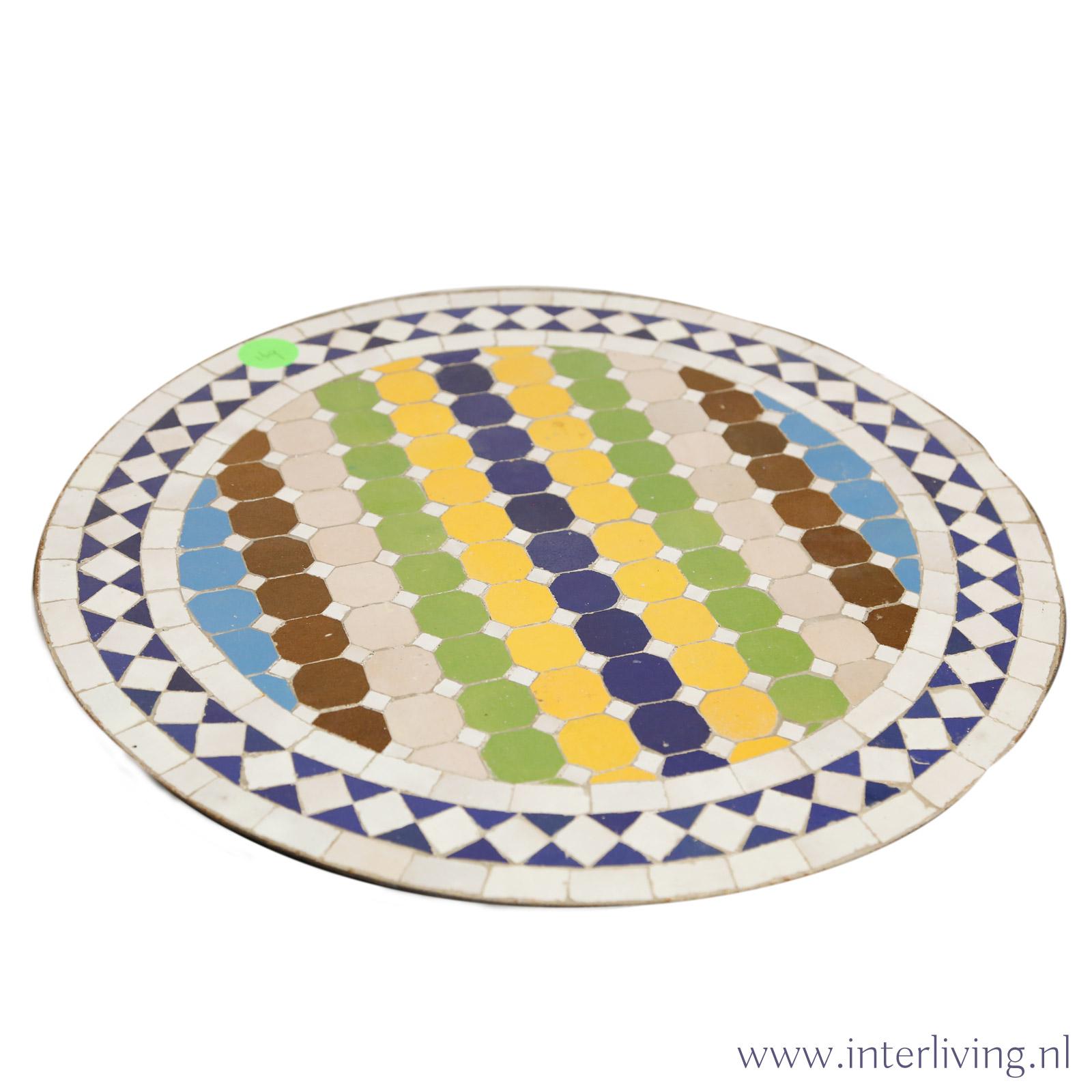 ronde tuin tafel / bijzettafel - Marokkaanse tegels met mozaïek patronen