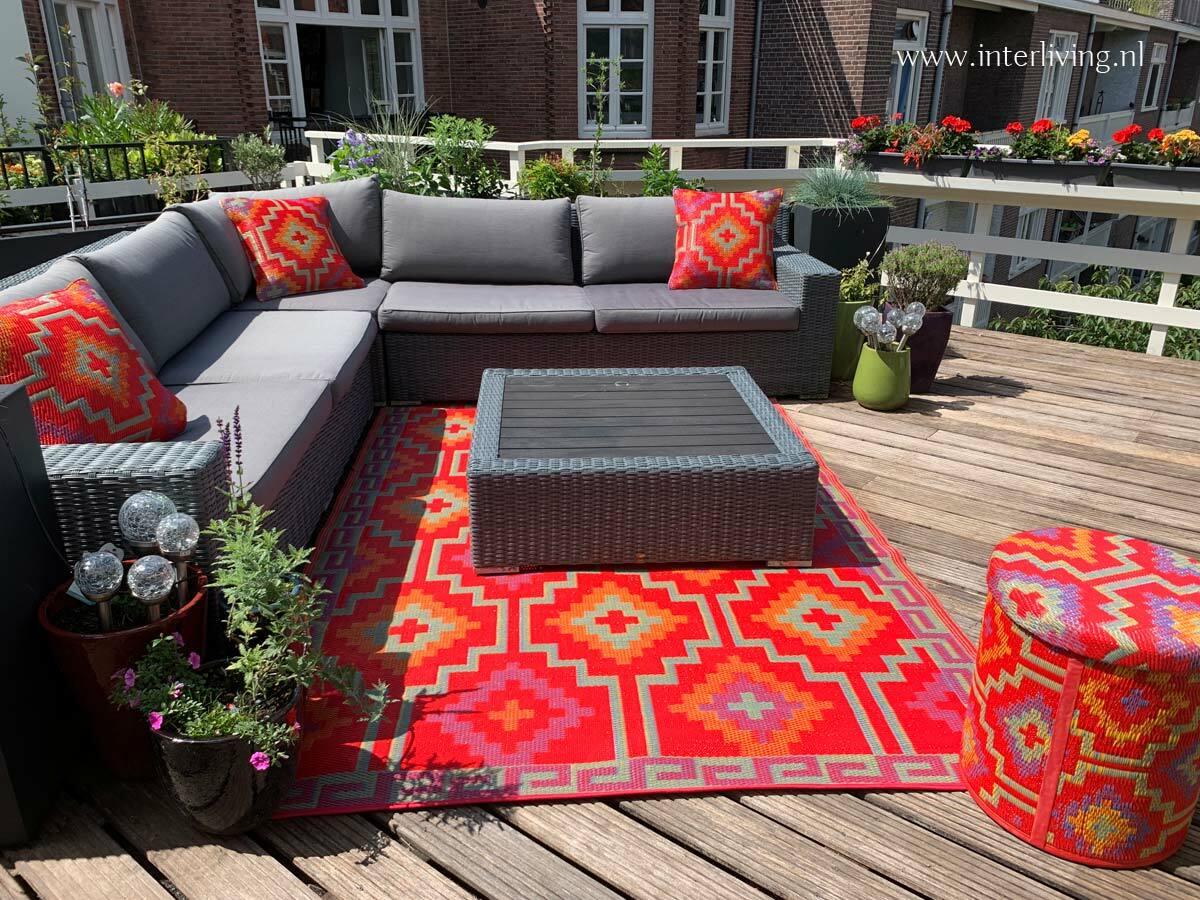 oosters tuinkleed - kleurrijke kelim stijl vloerkleed van plastic