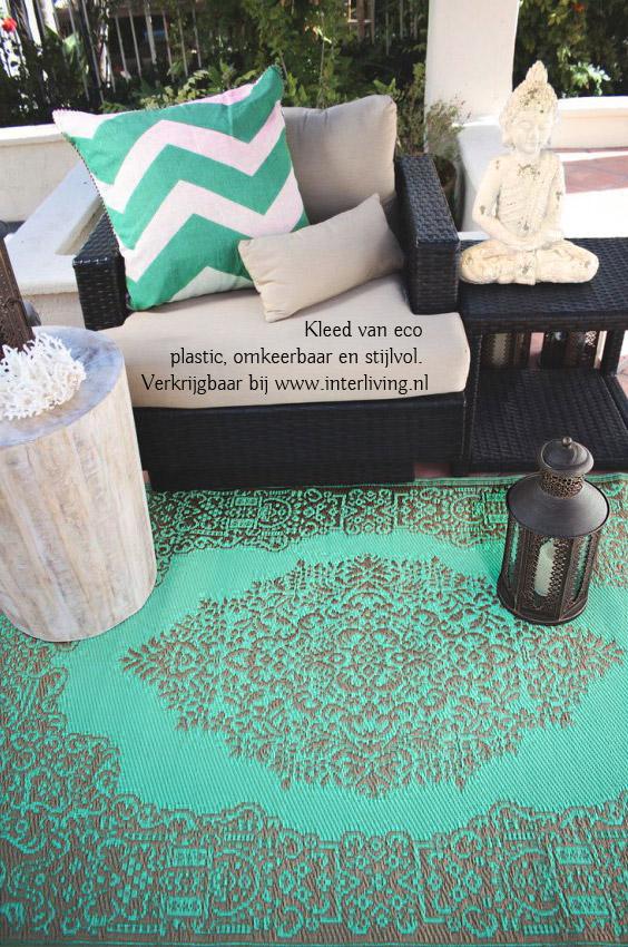 oosterse buiten tapijt - aqua kleur met brons patronen - Marokkaanse stijl terras
