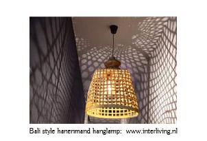 Bali bamboe hanglamp - gevlochten mand lamp - styling voor Ibiza huis