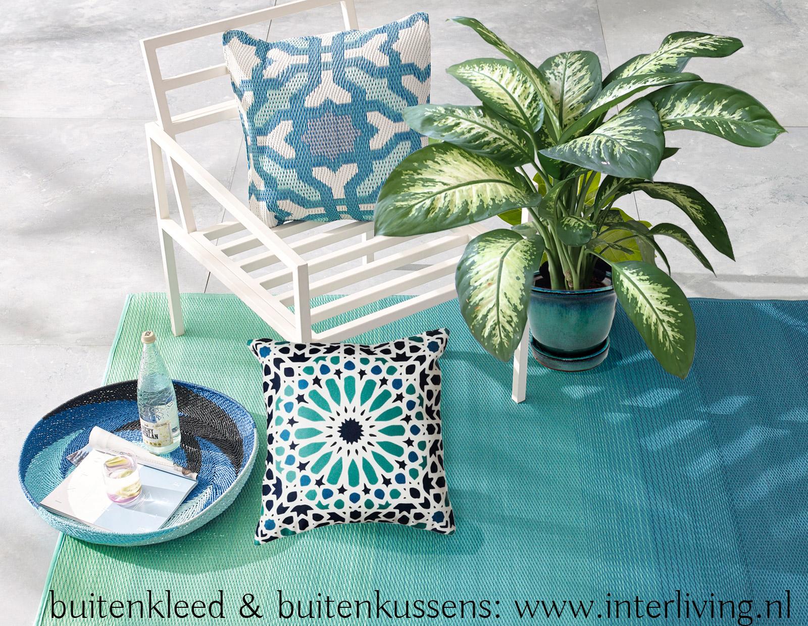 buitenkussen voor je oosterse tuin styling - Marokkaanse zellige tegel patroon outdoorkussen gemaakt van 100% gerecyclede soda flessen