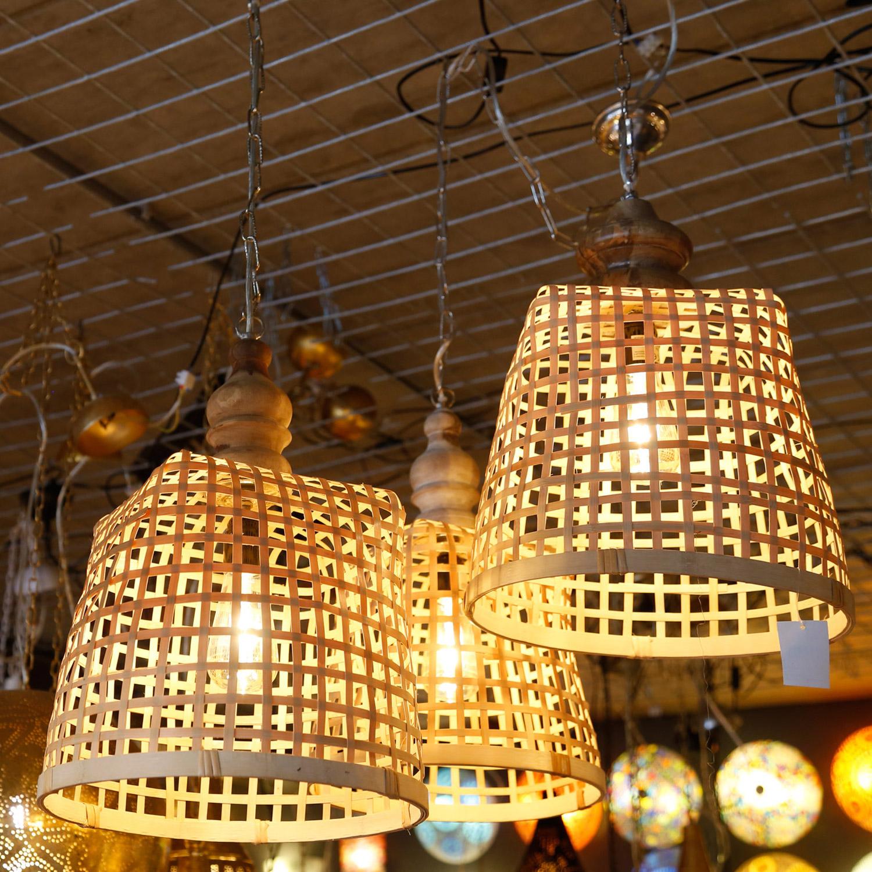 Balinese rotan hanglamp - gevlochten mand - styling voor interieur