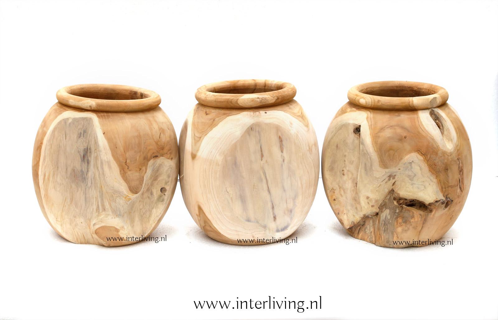 sierpot - plantenpot van teakhout uit Indonesië / Bali styling voor je huis en interieur