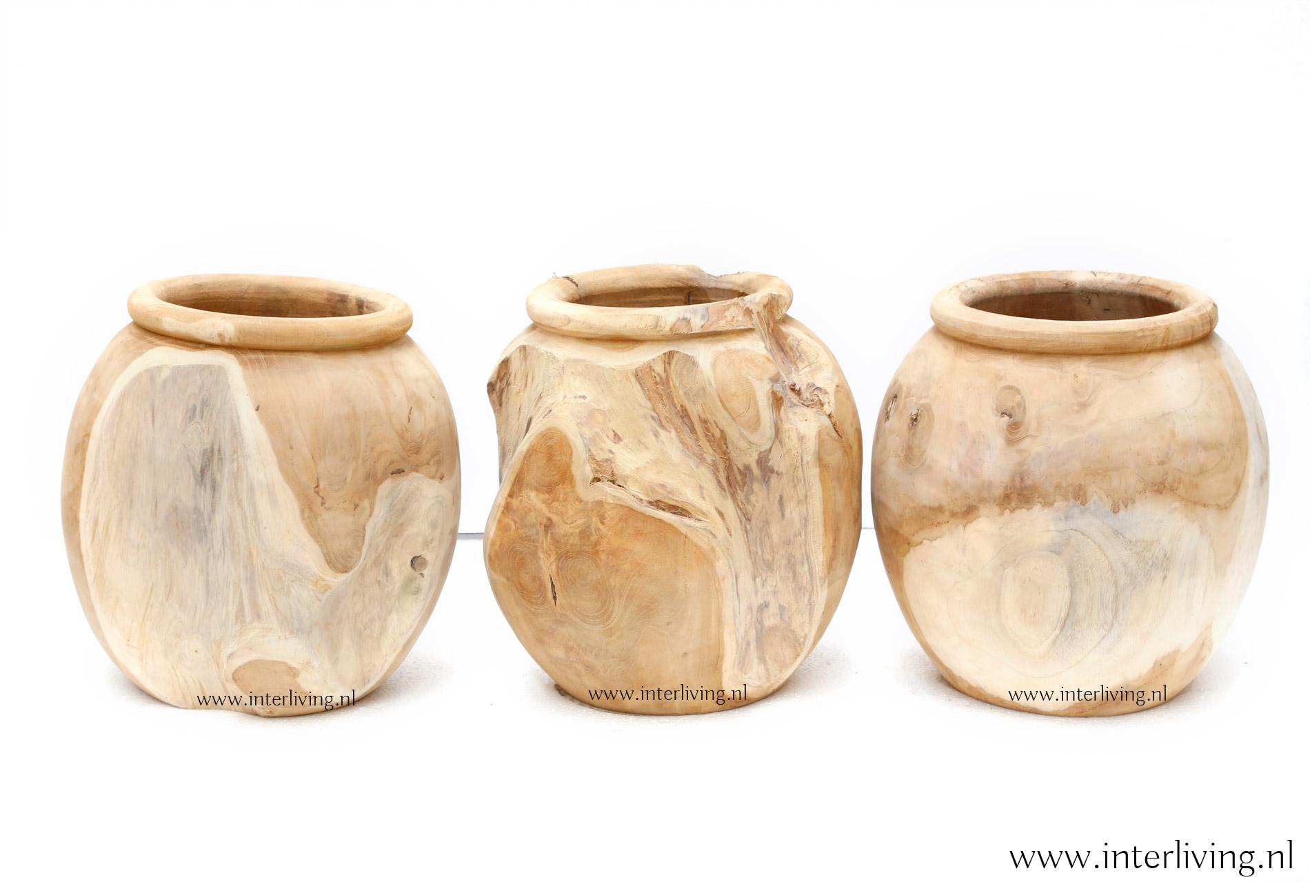 teakhouten ronde pot - opbergpot uit Indonesië / Bali styling voor je huis en interieur